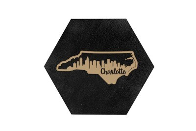 City Skyline inside State Shape on HEX Hand-Painted Wood Coaster Set