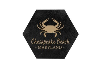 Crab & Customized Location HEX Hand-Painted Wood Coaster Set