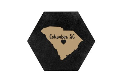 Custom State Shape - Heart Represents City Location HEX Hand-Painted Wood Coaster Set