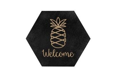 Pineapple w/WELCOME or Custom Word HEX Hand-Painted Wood Coaster Set