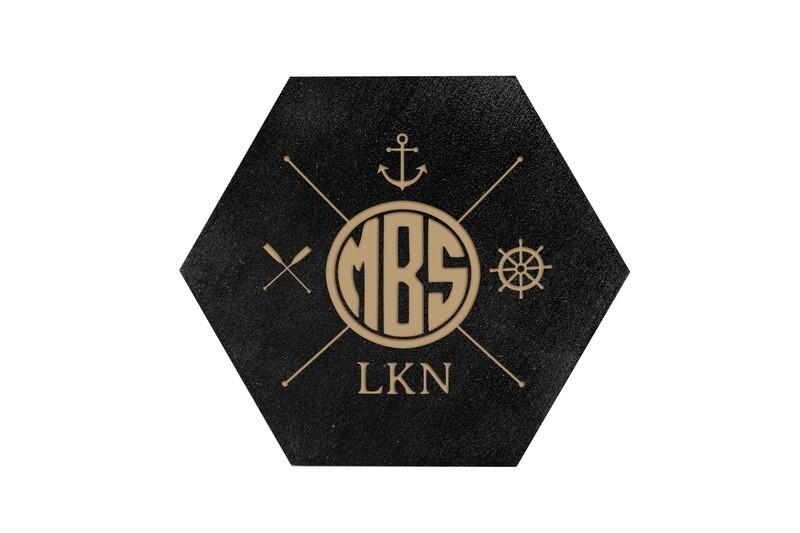 Monogram w/Nautical Themes HEX Hand-Painted Wood Coaster Set