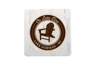 On Lake Time w/Chair & Customized Location Hand-Painted Wood Coaster Set