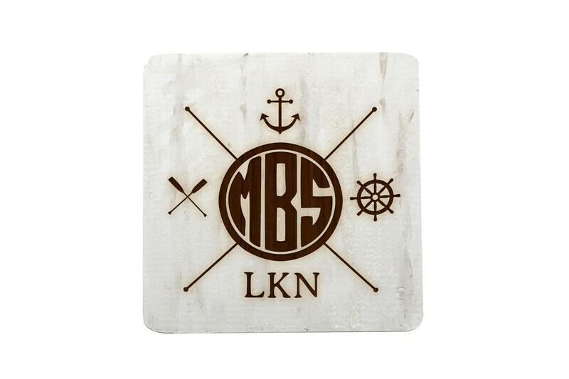 Monogram w/Nautical Themes Hand-Painted Wood Coaster Set