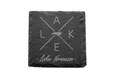 Customized State Shape with LAKE Slate Coaster Set