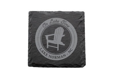 On Lake Time w/Chair & Customized Location Slate Coaster Set