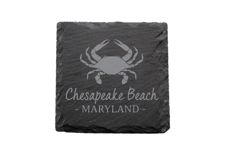 Crab & Customized Location Slate Coaster Set