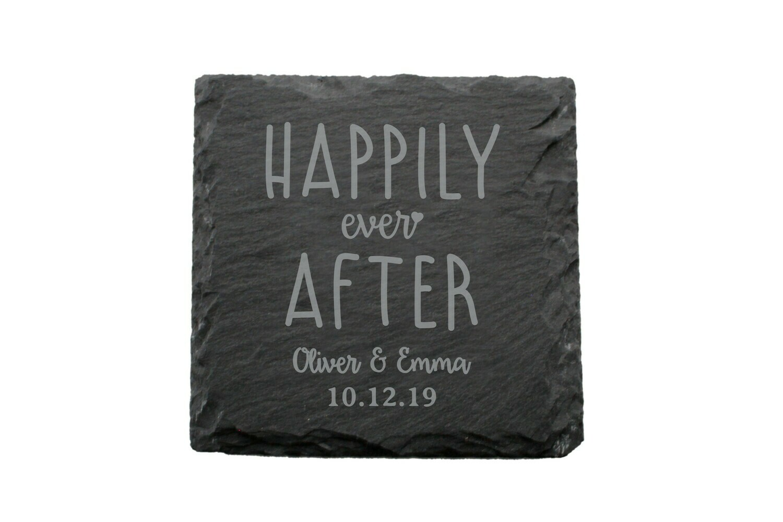 Custom Happily Ever After Slate Coaster Set