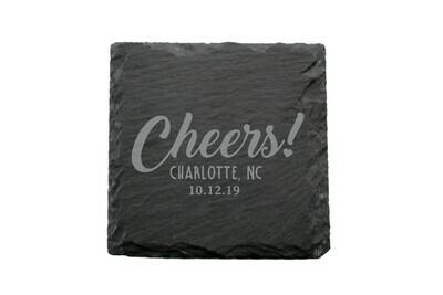Custom Cheers w/City & State & Date Slate Coaster Set