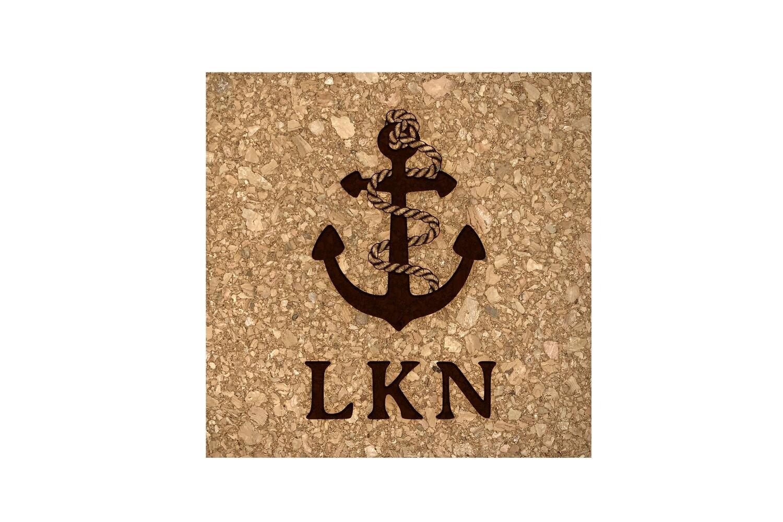 Anchor w/Rope & Custom Location Cork Coaster Set