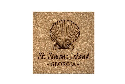 Seashell with Location & State Cork Coaster Set