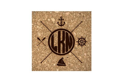 Nautical Themes Customized with Location Cork Coaster Set