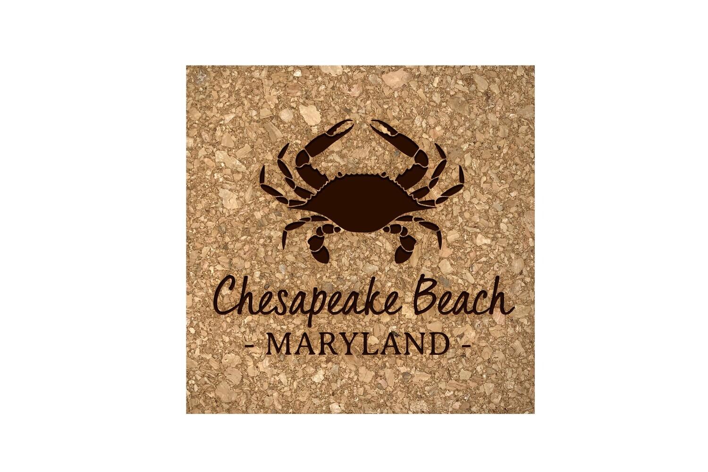 Crab & Customized Location Cork Coaster Set