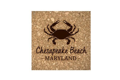 Crab & Customized Location Cork Coaster Set
