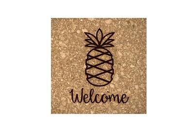 Pineapple w/WELCOME or Custom Word Cork Coaster Set