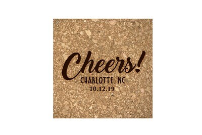 Custom Cheers w/City & State & Date Cork Coaster Set