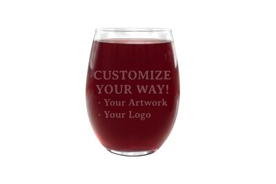 Customize Your Way PLASTIC Stemless Wine Glass 16 oz