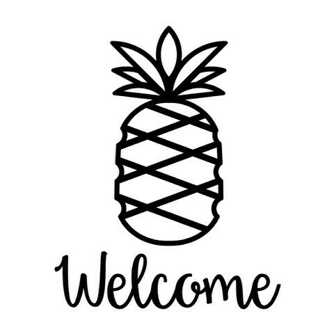 Pineapple w/Welcome or Your Custom Word Stemless Wine Glass