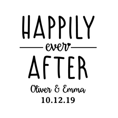 Custom Happily Ever After with Names & Date PLASTIC Stemless Wine Glass