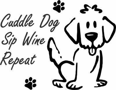 Cuddle Dog, Sip Wine, Repeat PLASTIC Stemless Wine Glass 16 oz
