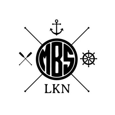 Monogram w/Nautical Themes Leather Coaster Set