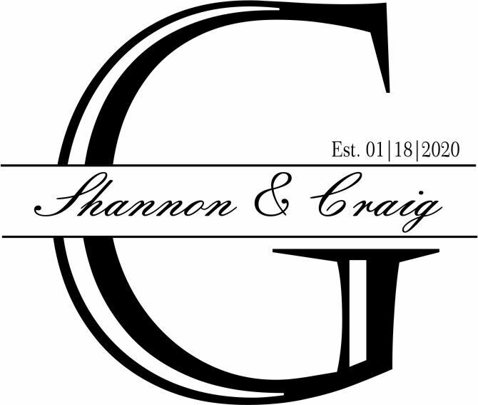 Custom Decorative Initial w/Names & Date Slate Serving Tray