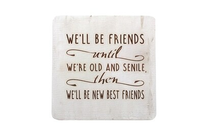We'll Be Friends until We're Old and Senile, then We'll be New Best Friends  Hand-Painted Wood Coaster Set
