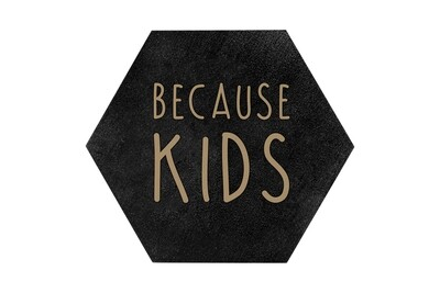 Because Kids HEX Hand-Painted Wood Coaster Set