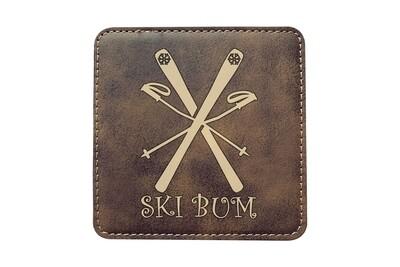 Ski Bum Leatherette Coaster Set