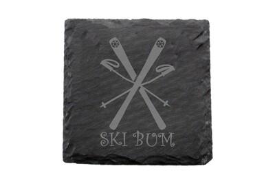 Ski Bum Slate Coaster Set