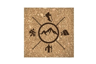 Skier with Outdoor Themes Cork Coaster Set
