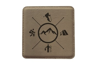 Skier with Outdoor Themes Leatherette Coaster Set