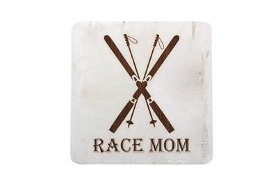 Race Mom Hand-Painted Wood Coaster Set