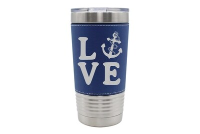Leatherette 20 oz Love with Anchor Insulated Tumbler