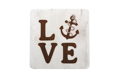 Love with Anchor Hand-Painted Wood Coaster Set
