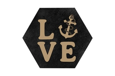 Love with Anchor HEX Hand-Painted Wood Coaster Set