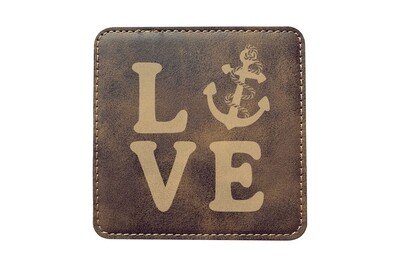 Love with Anchor Leatherette Coaster Set