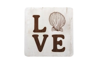 Love with Seashell Hand-Painted Wood Coaster Set