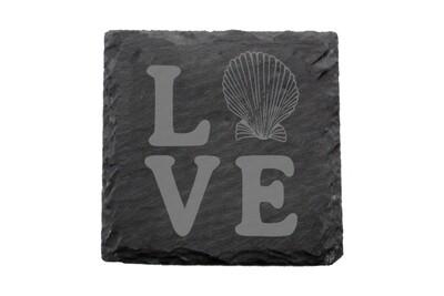 Love with Seashell Slate Coaster Set