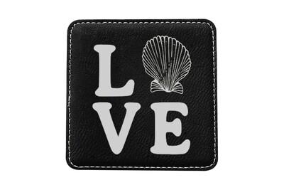 Love with Seashell Leatherette Coaster Set