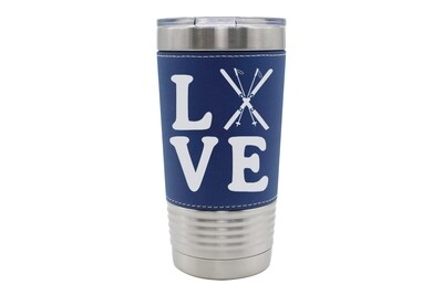 Leatherette 20 oz Love with Skis Insulated Tumbler
