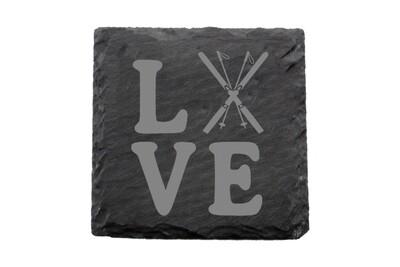 Love with Skis Slate Coaster Set