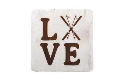 Love with Skis Hand-Painted Wood Coaster Set