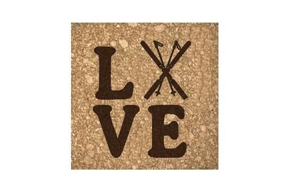 Love with Skis Cork Coaster Set