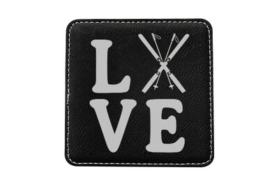 Love with Skis Leatherette Coaster Set