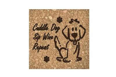 Cuddle Dog, Sip Wine, Repeat on Cork Coaster Set