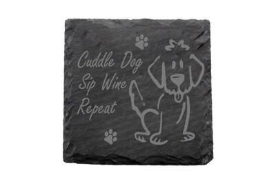 Cuddle Dog Sip Wine Repeat Saying Slate Coaster Set