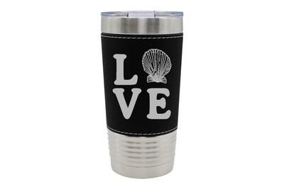 Leatherette 20 oz Love with Seashell Insulated Tumbler