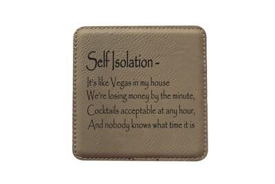 Self Isolation Witty Saying Leatherette Coaster Set