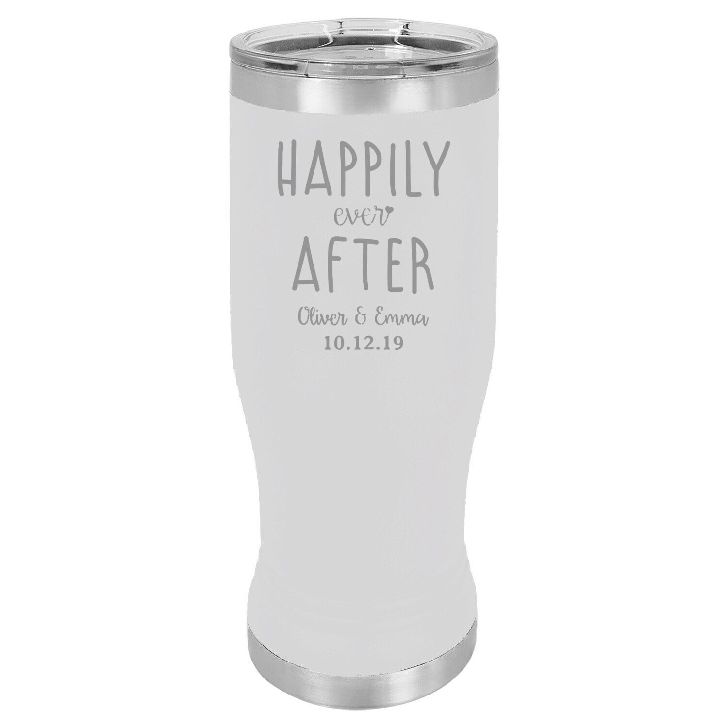 Custom Happily Ever After with Names & Date Pilsner 20 oz