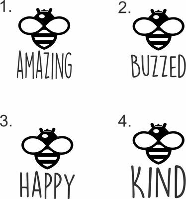 Bee Phrases (Amazing, Buzzed, Happy, Kind, or Your Word) Hand-Painted Wood Coaster Set
